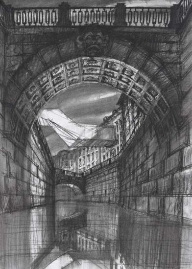 Den-City Urban Landscape - Sergei Tchoban, Architectural contrasts 1. Bridge, 2015, carboncino su carta, cm 60x42