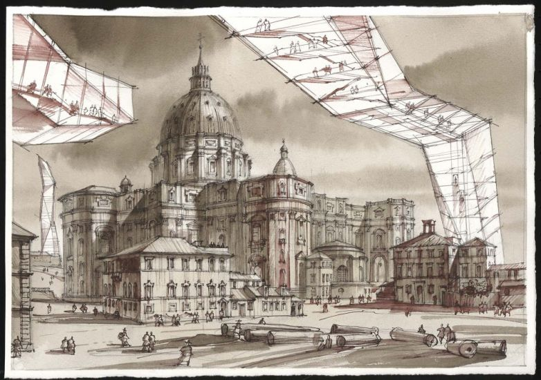 Den-City Urban Landscape - Sergei Tchoban, Fantasy to etchings by Piranesi, 2017, inchiostro, acquerelli e grafite su carta, cm 33x47